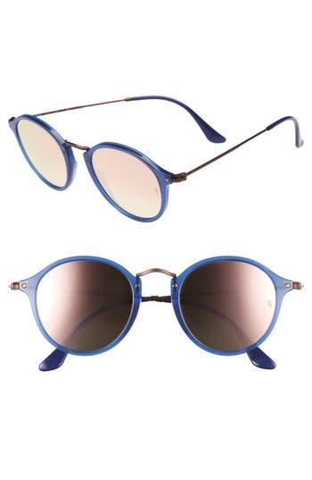 Women's Ray-Ban 49Mm Round Sunglasses - Transparent Blue