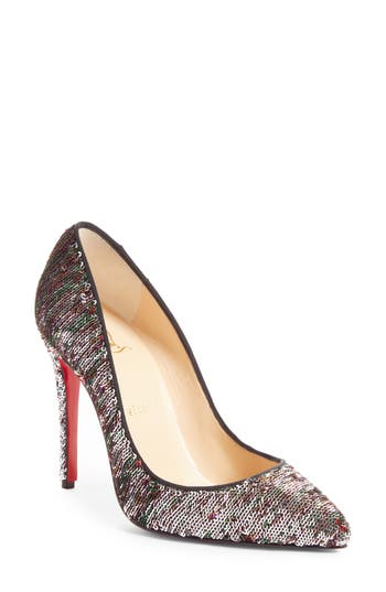 CHRISTIAN LOUBOUTIN PIGALLE FOLLIES 100 SEQUINED CANVAS PUMPS, BLACK