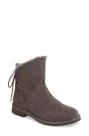 Ugg Naiyah Lace-Back Genuine Shearling Boot, Grey