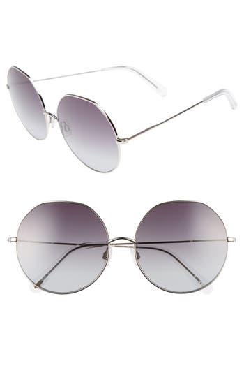Women's D'Blanc Sonic Boom 62Mm Gradient Round Sunglasses - Palladium/ Gradient