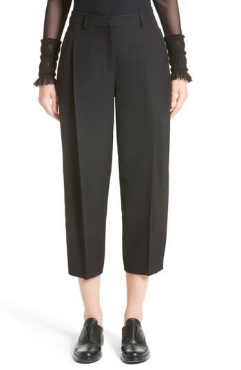 Women's Akris Punto Flori Wool Gabardine Pleated Crop Pants