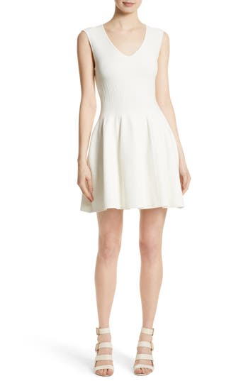 Women's Milly Fit & Flare Knit Dress, Size Large - White