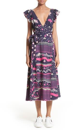 Women's Marc Jacobs Glories Crepe Back Satin Midi Wrap Dress
