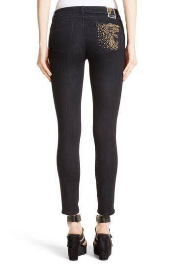 Women's Versace Collection Studded Logo Pocket Skinny Jeans