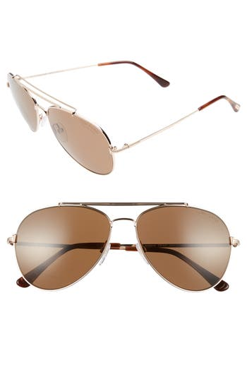 Women's Tom Ford Indiana 58Mm Polarized Aviator Sunglasses - Brown/ Blonde/ Rose Gold