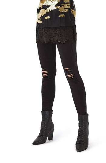 Women's Topshop Ripped High Waist Ankle Skinny Jeans