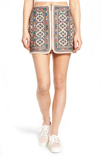 Majorelle WOMEN'S MAJORELLE PORT EMBROIDERED ZIP SKIRT