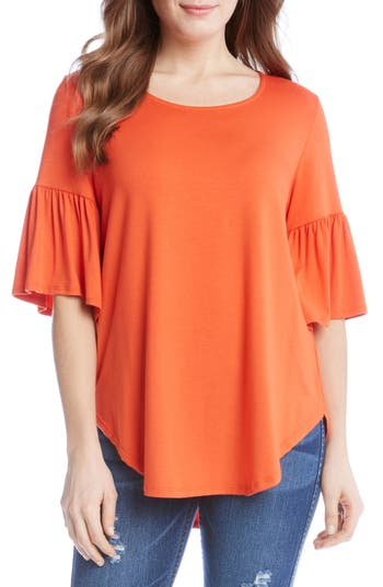 Women's Karen Kane Bell Sleeve Top, Size Small - Orange