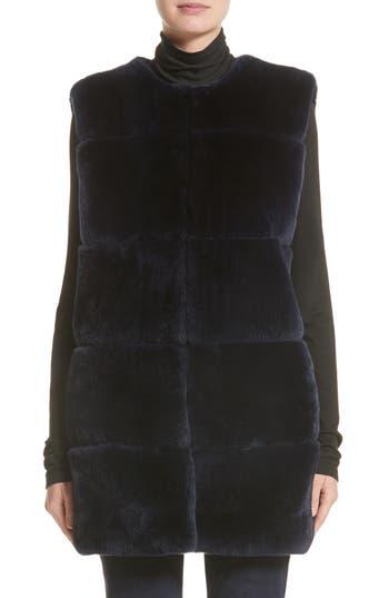 Women's St. John Collection Leather Trim Genuine Rex Rabbit Fur Vest