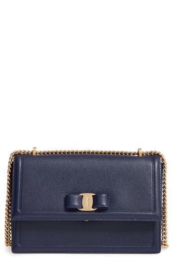 Salvatore Ferragamo Medium Grained Leather Bow Shoulder Bag - Blue