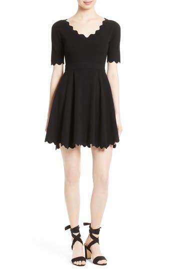 Women's Milly Fit & Flare Knit Dress, Size Petite - Black