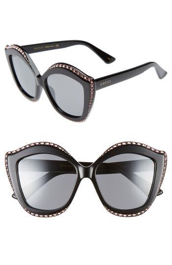 Women's Gucci 52Mm Cat Eye Sunglasses - Black/ Silver