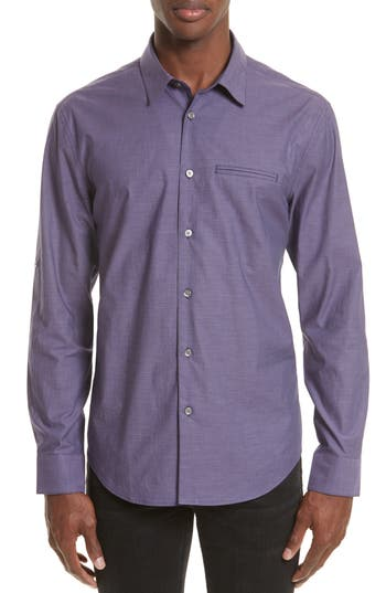 Men's John Varvatos Collection Roll Sleeve Cotton Sport Shirt