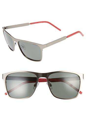 Men's Polaroid Eyewear 57Mm Polarized Sunglasses - Semi Matte Ruthenium/ Green