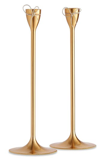 Vera Wang X Wedgwood Love Knots Set Of 2 Tapered Candlesticks, Size One Size - Metallic