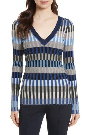 Women's Diane Von Furstenberg Stripe Rib Knit Sweater, Size Petite - Blue