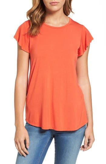 Women's Bobeau Flutter Sleeve Tee, Size Small - Orange