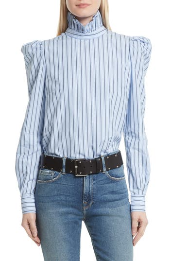 Victorian Style Blouses, Tops, Jackets Womens Frame Cotton Blouse Size Large - Blue $255.00 AT vintagedancer.com