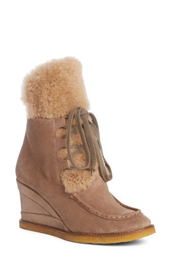 Women's Chloé Peggy Genuine Shearling Wedge Bootie