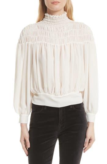 Victorian Style Blouses, Tops, Jackets Womens Frame Smocked Tie Back Blouse $275.00 AT vintagedancer.com