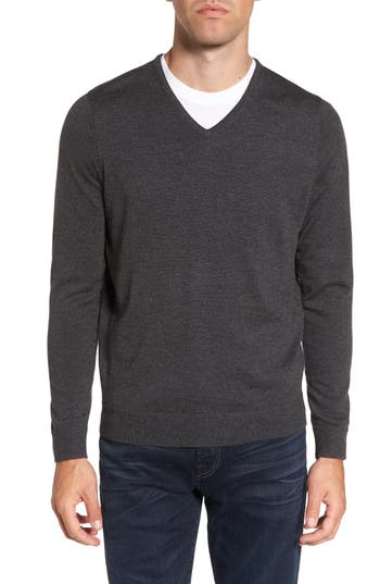 Big & Tall Nordstrom Shop V-Neck Merino Wool Sweater, Grey