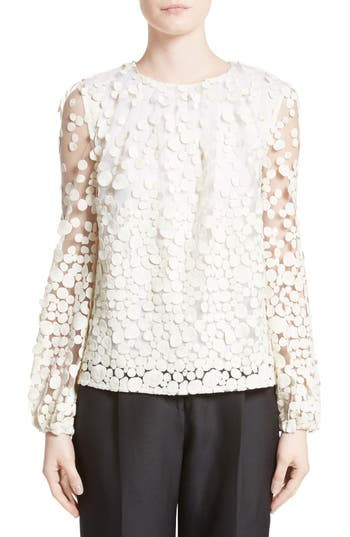 Women's Co Pebbles Embroidered Mesh Peasant Top