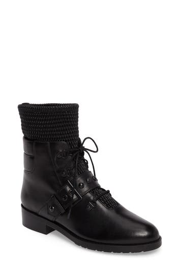 Stuart Weitzman Stitchwork Combat Boot- Black