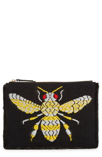 Frances Valentine Large Bee Leather Clutch - Black