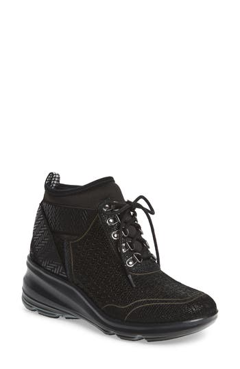 Jambu Offbeat Perforated Wedge Sneaker, Black