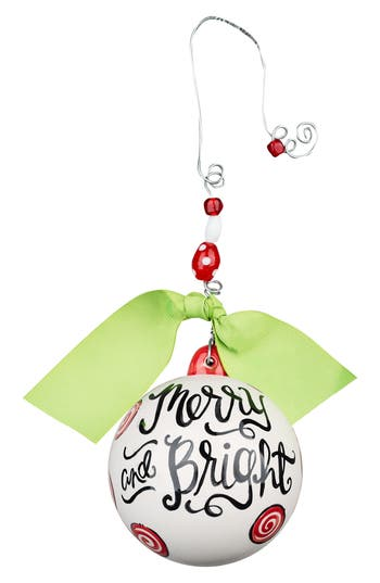 Glory Haus Merry & Bright Ball Ornament, Size One Size - Ivory