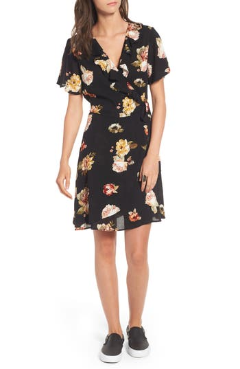 Women's Love, Fire Floral Gauze Wrap Dress, Size X-Small - Black
