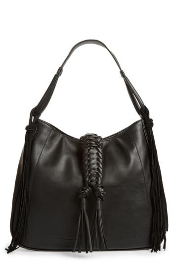 Sole Society Vale Faux Leather Hobo Bag - Black