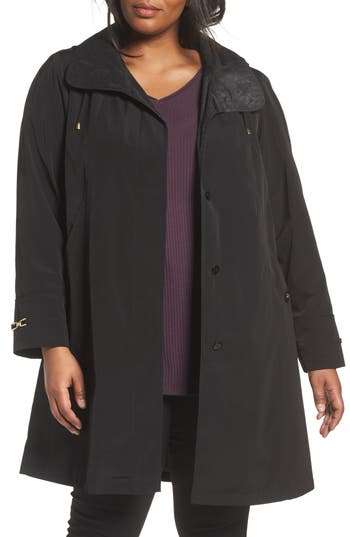 Plus Size Women's Gallery Long Silk Look Raincoat, Size 1X - Black