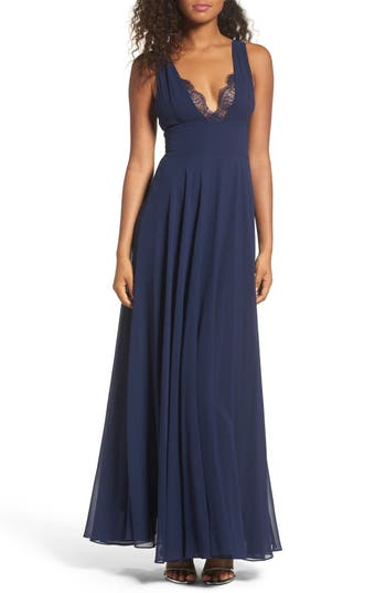 Women's Lulus Lace Trim Chiffon Maxi Dress, Size X-Small - Blue