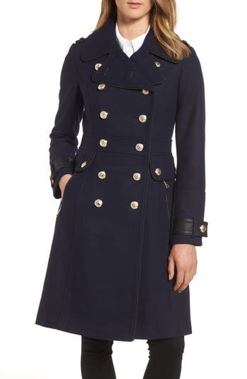Women's Guess Wool Blend Military Coat, Size Large - Blue