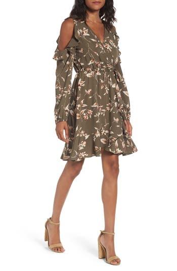 Women's Soprano Cold Shoulder Faux Wrap Dress, Size X-Small - Green
