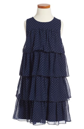 Girl's Ruby & Bloom Tiered Dot Dress
