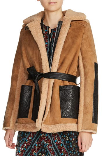 Maje Shearling Lined Leather Coat, Beige