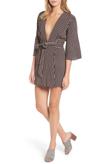 Women's Faithfull The Brand Corelli Plunge Wrap Dress, Size X-Small - Black
