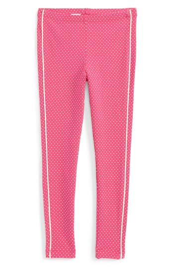 Girl's Tea Collection Stripe-N-Dot Leggings, Size 4 - Pink