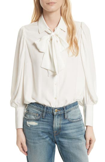 Victorian Style Blouses, Tops, Jackets Womens Frame Voluminous Silk Blouse Size Large - White $295.00 AT vintagedancer.com