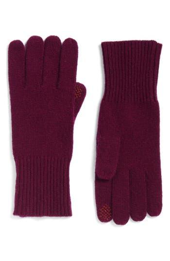 Women's Halogen Rib Knit Cashmere Gloves, Size One Size - Purple