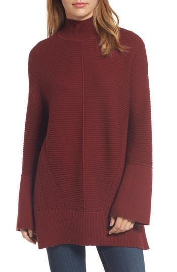 Women's Caslon Ribbed Turtleneck Tunic Sweater, Size X-Small - Red