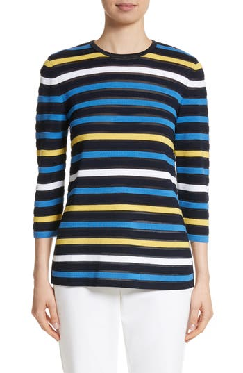 Women's St. John Collection Ombre Stripe Sweater, Size Petite - Blue