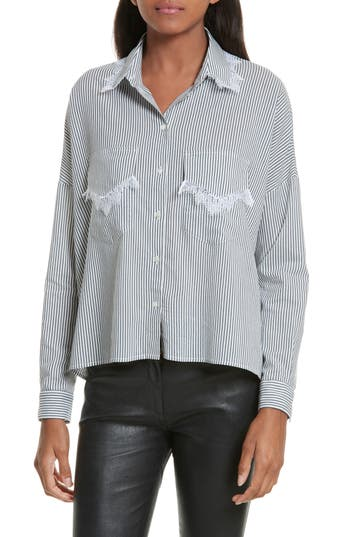 Women's The Kooples James Lace Trim Stripe Shirt