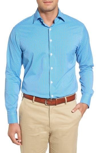Men's Peter Millar Statler Regular Fit Check Performance Sport Shirt, Size Medium - Blue