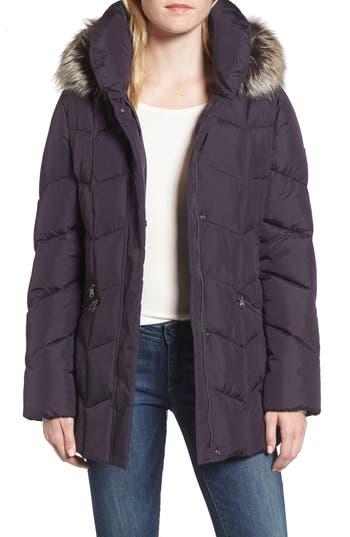 Larry Levine Quilted Coat With Faux Fur Trim, Purple