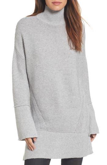 Women's Caslon Ribbed Turtleneck Tunic Sweater, Size X-Small - Grey