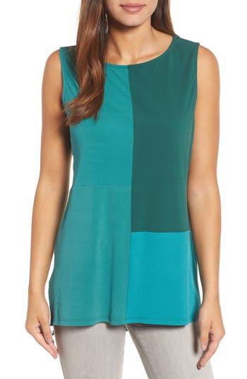 Women's Eileen Fisher High/low Silk Jersey Shell, Size X-Small - Green