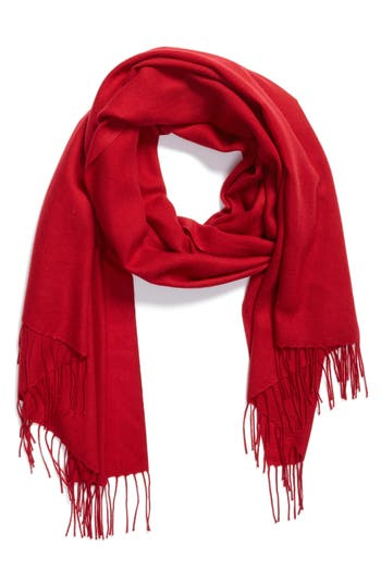 Women's Nordstrom Tissue Weight Wool & Cashmere Scarf, Size One Size - Red